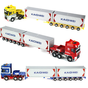 Image 4 - Alloy Diecast 1:50 Low Bed Transporter Container /Reach Stacker /Front Trolley Truck Rubber Tire Vehicles Model Kids Gift Toys