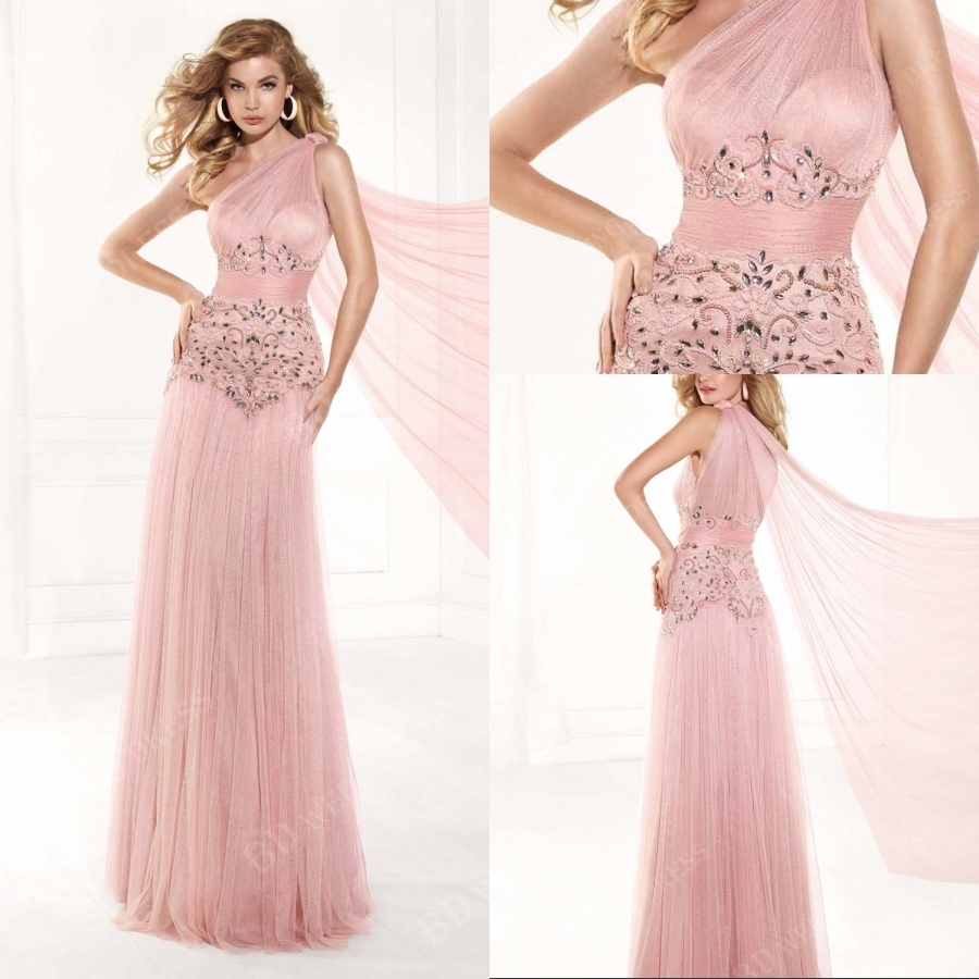 Bd 2015 Top Fashion Pink Tulle Vintage Evening Dresses A Line Floor Length Discount Evening