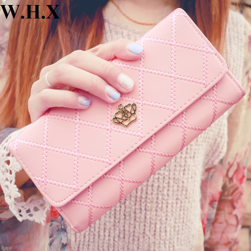 WHX Fashion Leisure Long Wallets Pink Women Wallet Female Wallet Girls Coin Purse Pocketbook Billfold Card Money Bag Pu Leather