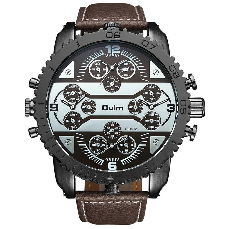OULM Men's Watches Aviator Military DZ Quartz-watch Wristwatch Leather Strap 4 Time Zone Oversize Gear-shaped Bezel + Gift Box цена