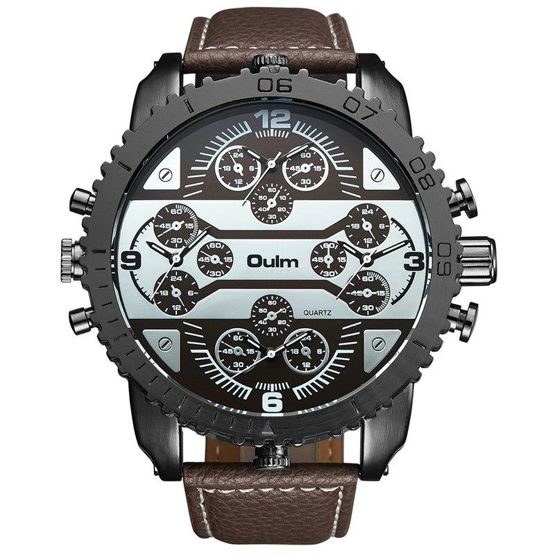 OULM Men's Watches Aviator Military DZ Quartz-watch Wristwatch Leather Strap 4 Time Zone Oversize Gear-shaped Bezel + Gift Box