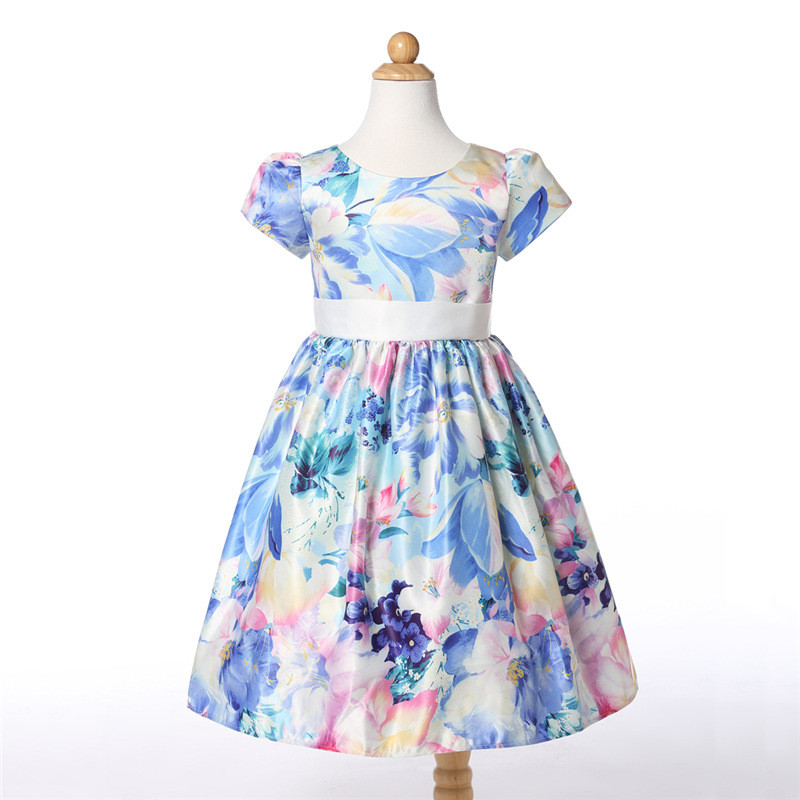 все цены на Autumn Baby Child Floral Print Dress Clothes Bow Belt Princess Girls Cotton Dresses Flower Print 8 Years Kids Birthday Gift