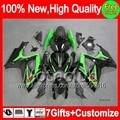7gift  For SUZUKI GSXR 600 750 06 07 GSXR750 06-07 Green black 3MC828 GSXR600 K6 R750 GSX R600 2006 2007 Fairing Glossy green