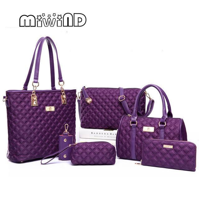 New Fashion Handbags Lingge Six Sets of Sub Package Shoulder Bags Oblique Crossbody Composite Bag