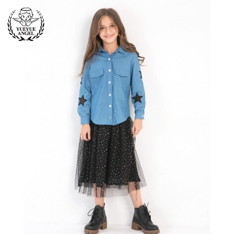 Blue Denim Shirt Single Breasted Long Sleeved Suits For Girls Spring Black Tulle Skirt Girls Set For 10 Years Old Ensemble Fille все цены