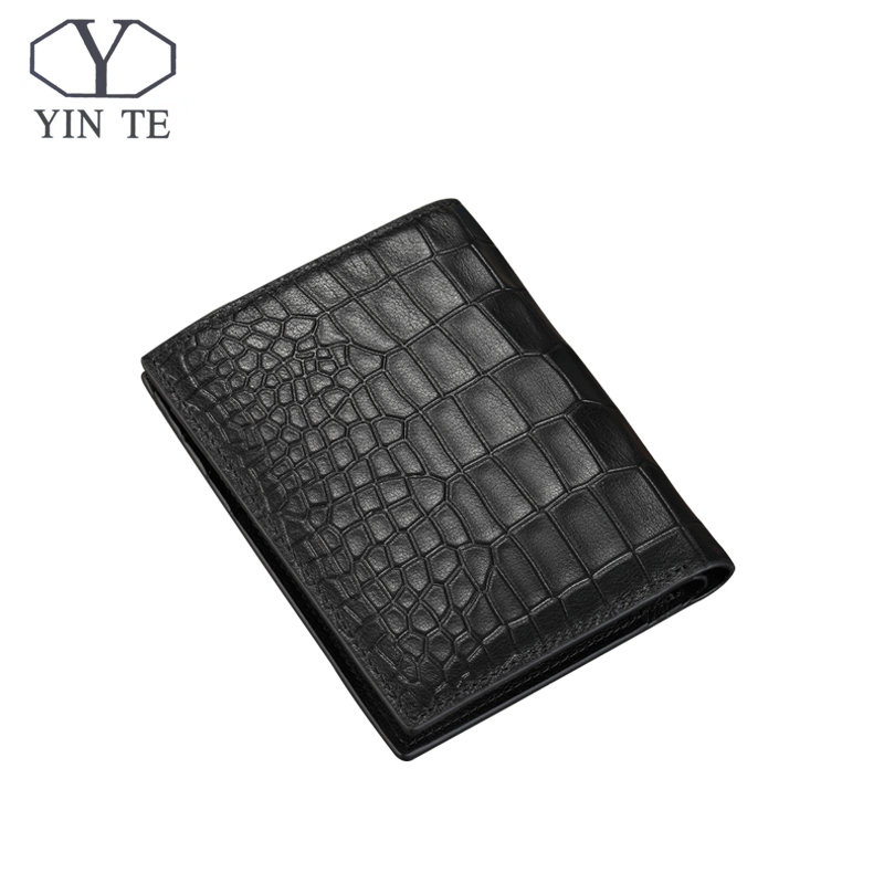 YINTE 2018 Leather Wallet Men Original Brand 100% Genuine Cow Leather Crocodile Pattern Wallet Men Short Wallet Portfolio T8847B leacool wallet men 100