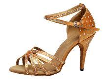 """2017 מותג ברונזה שחור סאטן ידידות יהלומים מלאכותיים של נשים נעלי ריקוד לטיני סלסה נעלי מפלגה נעלי ריקודים סלוניים 10 ס""""מ(China (Mainland))"""