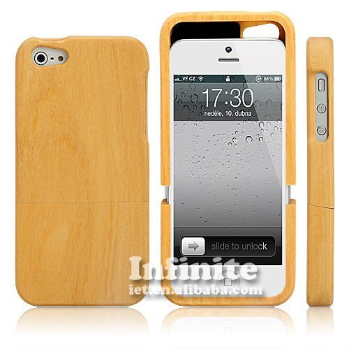 Ivory Wood For iPhone 5 Case,The Light Yellow Wood Case Touchs Smooth and Gladden Eyes.Luxury and Smart Choice for Yourself