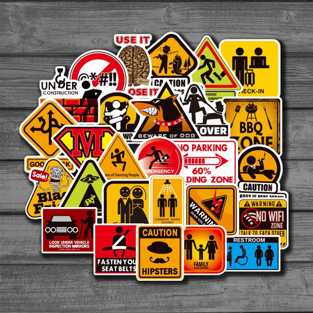Car Riders 50 Pack Waterproof Decal Sticker Warning Sticker for Motorcycles Danger Banning Signs