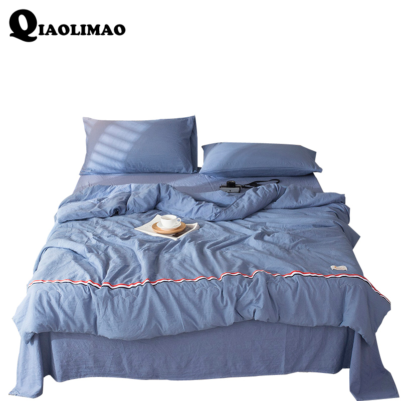 New Summer Comforter Sets Washed Polyester Quilted Quilt Sets With Two Pillowcase Flat Sheet Queen King Size 4pieces Bedding Set