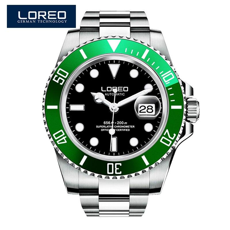 LOREO Germany watches font b men b font luxury automatic self wind luminous waterproof 200M oyster