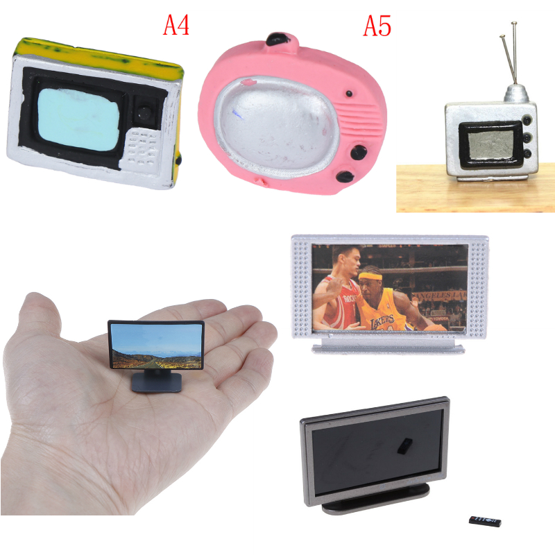 Hot Sale Dollhouse Miniature Wide Screen Television Flat-Panel LCD TV Classic Pretend Play Toys For Child