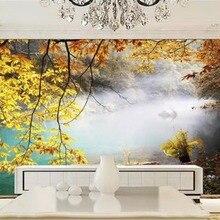 Papel tapiz Vintage americano HD hojas amarillas de ensueño otoño ilustración de paisaje decoración de fondo de pared Pared de TV interior