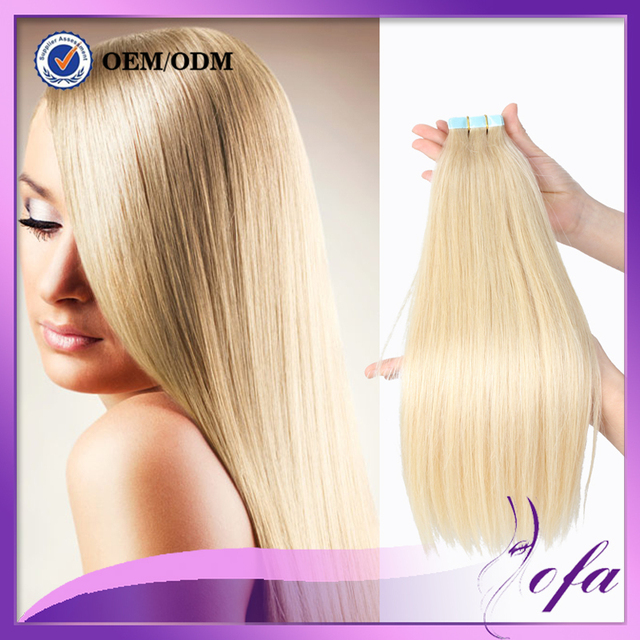 613 Skin Weft Tape In Human Hair Extensions Platinum Blond Tape