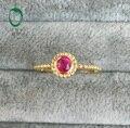 Бесплатная доставка 0.39ct Овальный Вырезать Натуральный Рубин 18 К Желтое Золото Обручальное Кольцо