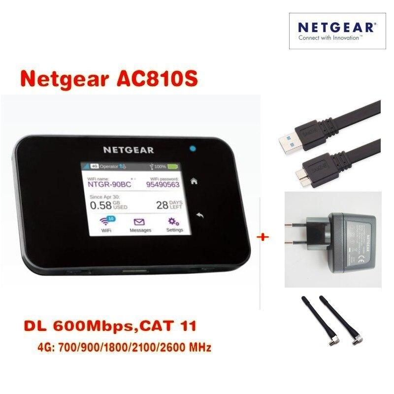 Original Desbloqueado touch screen Cat11 AC810S Netgear Aircard 810 S 600 Mbps 4GX Avançado III 4G LTE Hotspot Móvel mais 2 pcs antenn