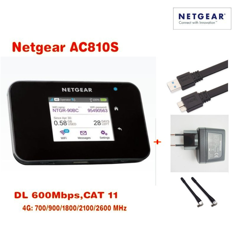 Original Unlocked touch screen Netgear Aircard AC810S 810S Cat11 600Mbps 4GX Advanced III 4G LTE Mobile Hotspot Plus 2pcs antenn