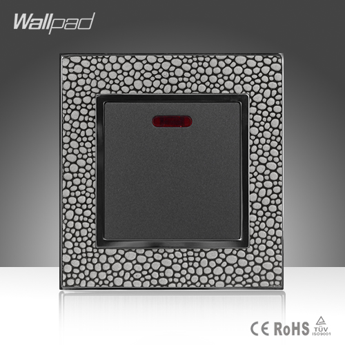 Modular Home Wallpad Luxury Pearl Leather Frame 110-250V LED Indicator One Gang 20A Water Heater Wall Switch
