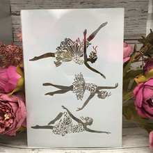 Buy A4 29cm Dancing Ballet Girls DIY Layering Stencils Wall Painting Scrapbook Coloring Embossing Album Decorative Card Template directly from merchant!