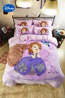 פלנל חמוד דיסני נסיכת סופיה 3D מודפס מצעים סטי תאומים מלא צבע ורוד מיטה בגודל Queen מכסה עיצוב חדר השינה של ילדה רך