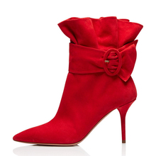 High Quality Women Boots 2018 Kid Suede Leather Booties Casual Shoes Mid Calf For Ladies White Red Wedding TL-A0127