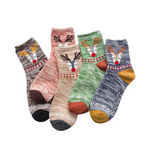2017 Fashion Custom Deer Winter Socks Hosiery Color Rush Women Warm Meias Thermal Sock Art Geometry Stripe Halloween Christmas