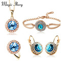 Magic Ikery  New Fashion Wedding Crystal Jewelry Sets Vintage Moon River Rhinestone Top Quality Jewelry for Women MKZ4335