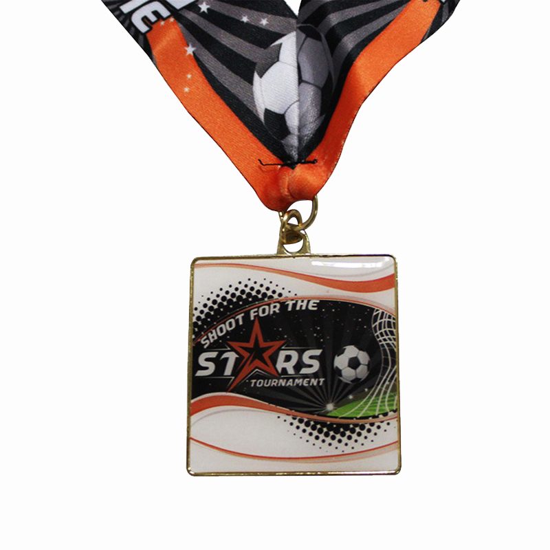 Low Price Football Match Medal High Quality Epoxy Square Medal image