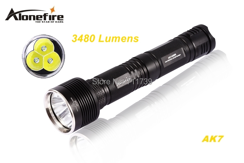 AloneFire AK7 3 x CREE XM-L U2 LED 3480LM 5 mode High power flashlight torch With Extension tube lamp For 1/2x26650 batteries self defense flashlight 5 mode 2000lm cree xm l t6 led 18650 26650 battery waterproof high power torch lamp linternas