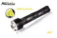 Alonefire AK7 3 x كري xm-l u2 الصمام 3480LM 5 الوضع عالية الطاقة مصباح المصباح الشعلة مع تمديد أنبوب ل 1/2x26650 البطاريات