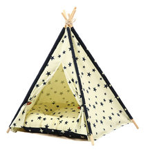 JORMEL 2019 New Portable Dog Tent Washable Pet Teepee Cat Toy House Pet Dogs Bed Star Pattern Not Contain Mat(China)