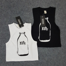 Unisex kids boys and girls baby clothes milk bottle vest sleeveless cotton vests