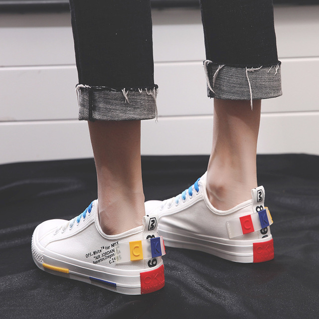 SWYIVY Lady Canvas Shoes Sneakers White 2019 Spring Rainbow Colorfull Female  Causal Shoes Shallow Breathable Flats Sneakers 40 986390448345