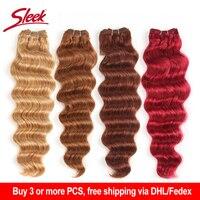 Sleek Brazilian Hair Weave Bundles Deep Windy Human Hair Extension Colored Red Blonde 99J 1 pc Deep Wave Brazilian Hair