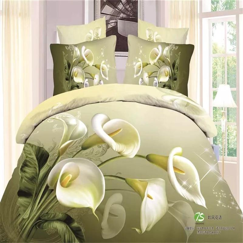 3d flower calla lily olive green bedding set queen size 100 cotton quilt duvet comforter cover. Black Bedroom Furniture Sets. Home Design Ideas