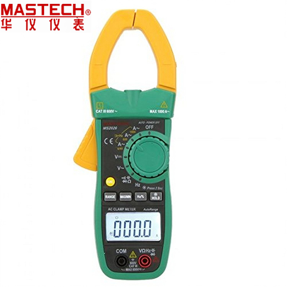 MASTECH MS2026R auto range AC current digital clamp meter AC/DC Tester True RMS 1000A temperature measurement ADP, Diod mastech ms2108 t rms ac dc auto rg clamp meter tester max hold backlight inrush vs free shipping