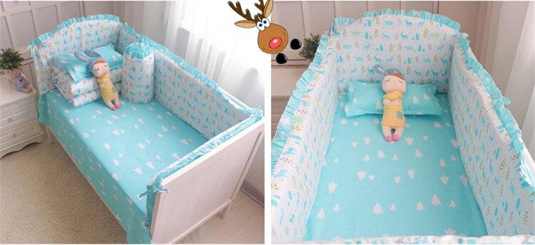 Promotion! 6PCS Cot baby bedding sets100% cotton crib bumper set bed linen(bumpers+sheet+pillow cover)