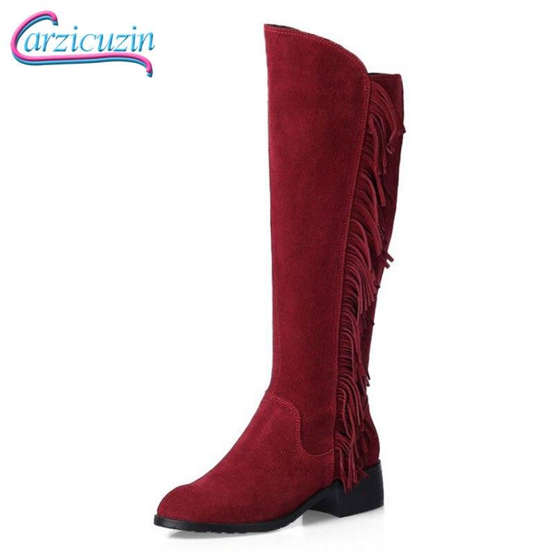 Rond Bout Botas Talon Réel Chaussures Noir Bottes Bas Cuir 3346 N00187 Mode D'hiver Au Véritable Gland Chaud En Femmes Taille Nouvelle ivoire rouge HD9E2IWY