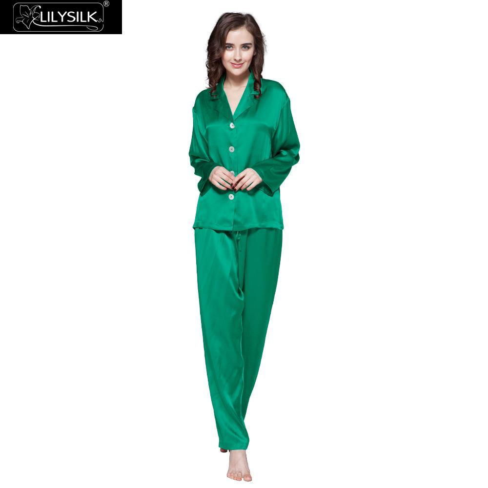 LilySilk 100 Pajama Set Pure Silk Sleep Lounge PyjamasPure Skin Care Women 22 Momme Long Sleeve
