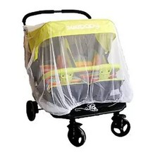 Newborn twin Stroller Mosquito Net For Twins Baby Buggy Pram Protector Fly Midge Insect Bug Cover Infants Twin Pushchair Net Bar(China)