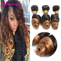 Brazilian Virgin Hair Ombre #1B/27 Loose Wave 3 Pcs Ombre Human Hair Bundles 100g Brazilian Loose Wave Ombre Hair Extensions