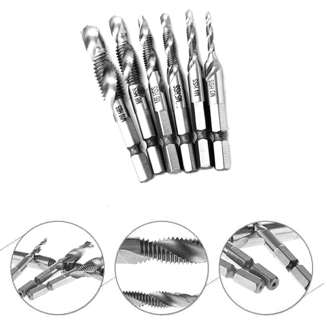 Hot 6pcs/set Hand Tap Drill Hex Shank HSS Screw Spiral Point Thread Metric Plug Drill Bits M3 M4 M5 M6 M8 M10 Hand Tools 5pcs hand screw tap screw thread m3 m4 m5 m6 m8 thread tool metric plug tap set drill set tap die