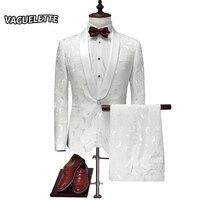 الأزياء المطرزة الأزهار بيضاء عرس للرجال أنيقة واحدة زر الرجال دعوى مرحلة ارتداء العريس الرجال يتأهل الدعاوى 4xl