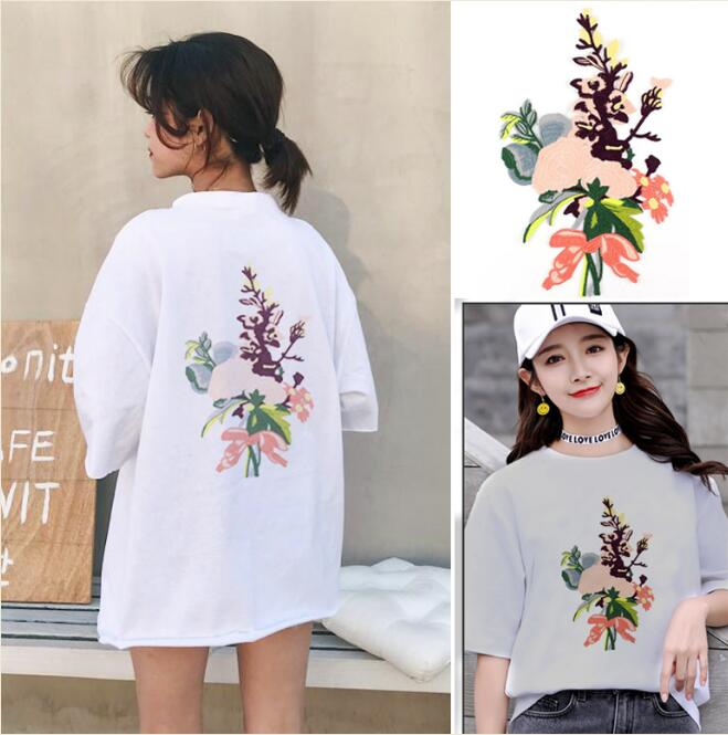 Fashion Large Wild Peony Flower Sticker Embroidered Sew On Patch For Dress Shirt Jeans Cloth Garment Applique Motif DIY Accessor
