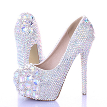 New arrival luxury princess slipper AB rhinestone wedding shoes high heels platform shoes  women's wedding shoes