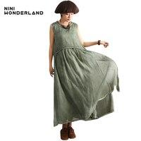 New 2017 Summer Do Old Cotton Linen Large Bottom Sleeveless Dresses Women Loose Waist Casul Long