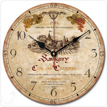 12 14  inch wall clock Fashion vintage american rustic brief classical decoration wine mute quartz watch