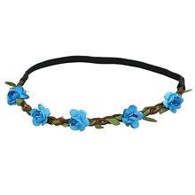 Цветок Женщины Hairband Повязка Фестиваль Свадьба синий