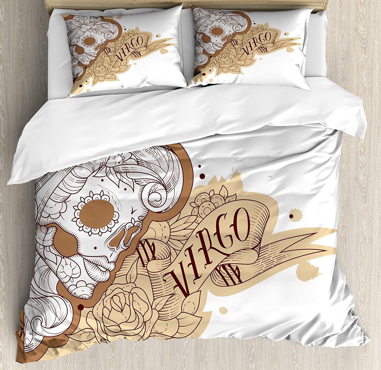 Зодиака Дева постельное белье, готический мексиканской Женский портрет сахарный череп гороскоп татуировки, 4 шт. Постельное белье