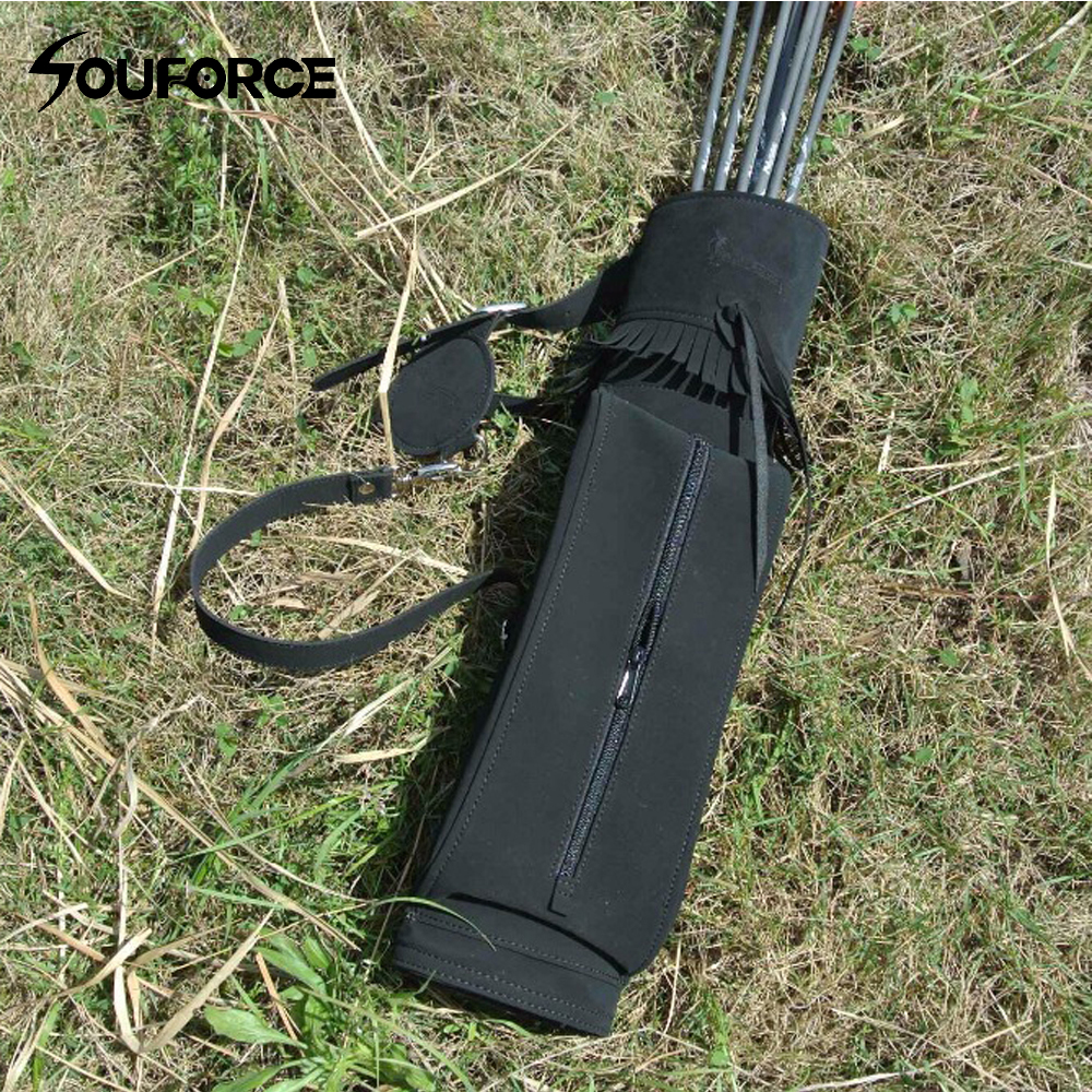 63.5*13cm Arrows Quiver 3 Point Single Shoulder Right Arrow Bag Nubuck Leather for Archery Hunting Shooting